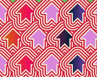 Pop Art Arrows Up Red Violet Blue. Made Through A Genetic Algorythm Royalty Free Stock Image