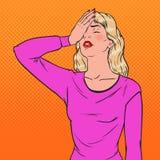 Pop Art Ashamed Young Woman Covering Haar Gezicht met Handen Gelaatsuitdrukking Negatieve Emotie stock illustratie