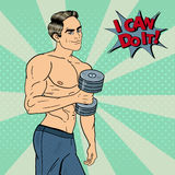 Pop Art Athletic Strong Man Exercising with Dumbbells. Vector illustration Royalty Free Stock Photography