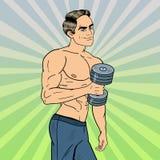 Pop Art Athletic Strong Man Exercising med hantlar Fotografering för Bildbyråer