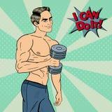 Pop Art Athletic Strong Man Exercising med hantlar Royaltyfri Fotografi