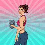 Pop Art Athletic Strong Woman Exercising with Dumbbells. Vector illustration Stock Image