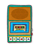 Pop art audio tape recorder. Vintage audio tape recorder funky drawing isolated over white background Royalty Free Stock Photos