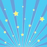Pop art background blue. Rays of the sun, the sky with yellow stars. Imitation comics style. Vector. Illustration vector illustration