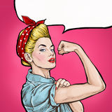 Pop art background. We Can Do It. Iconic woman's fist/symbol of female power and industry. Advertising.Pop art girl. Protest, meeting, feminism, woman rights stock illustration