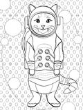 Pop art background. Children coloring, black lines, white background cat in a spacesuit and cosmonaut costume. vector. Illustration, imitation comic style text Royalty Free Stock Photography