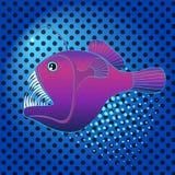 Pop art background deep sea, water fish, Lophius piscatorius. Imitation comic style, retro vector. Evil predator. Pop art background deep sea, water fish Stock Images