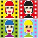 Pop Art Background med kvinnaframsidan i minimalismstilstående Arkivfoto