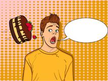 Pop art background, point. A festive chocolate cake with strawberries flies to the head of a guy, name-finding. text. Cake is thrown in man face pop art retro Stock Image