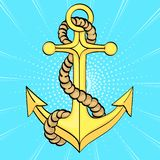 Pop art background. Sea anchor. Imitation of comics style. Vector. Illustration royalty free illustration