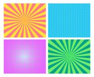 Pop art background set. Blue green violet yellow dots striped stock illustration