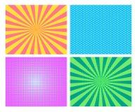 Pop art background set. Blue green violet yellow dots striped Stock Illustration
