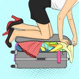 Pop art background.Tema travel and female gathering. Things that do not fit into the suitcase. Vector vector illustration