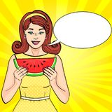 Pop art background text bubble. Retro young girl eating watermelon. Proper nutrition. imitation comics style. Raster. Illustration royalty free illustration
