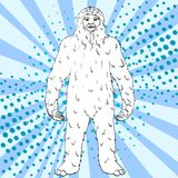 Pop art background vector Nepal, Yeti, Abominable Snowman. Color comic book style imitation big foot. Pop art background vector illustration Nepal, Yeti royalty free illustration