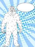 Pop art background vector Nepal, Yeti, Abominable Snowman. Color comic book style imitation big foot Text bubble. Pop art background vector illustration Nepal Stock Photo