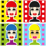 Pop Art Background with woman face in minimalism style Portrait Stock Photo