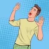 Pop-art bang gemaakte mens Doen schrikken Gelaatsuitdrukking Geschokt Guy Holding Hands Upwards Negatieve emotie vector illustratie