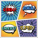 Pop Art Banner. Comics Style. Expressions Set. Bubbles Set. Halftone Background. Vector illustration Stock Photo