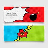 Pop Art Banner template for web design. Illustration of Pop Art Banner template for web design with bomb icon and versus design idea fit for web banner space Stock Photography