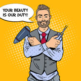 Pop Art Bearded Barber with Scissors and Hairdryer Stock Images