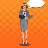 Pop Art Beaten Business Woman Smiling. Bandaged Office royalty free illustration