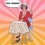 Pop Art Beautiful Woman Drinking Morning Tea in Cafe. Coffee Break. Vector illustration Stock Photo