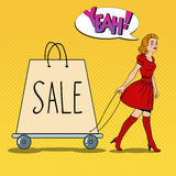 Pop Art Beautiful Woman with Giant Shopping Bag on Sale. Vector illustration Royalty Free Stock Photos