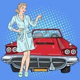 Pop Art Beautiful Woman Holding Car Keys Stock Image