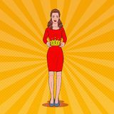 Pop Art Beautiful Woman Holding a Crown. Coronation Victory Ceremony. Vector illustration Stock Images