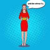 Pop Art Beautiful Woman Holding a Crown. Coronation Winner Ceremony. Vector illustration Royalty Free Stock Images