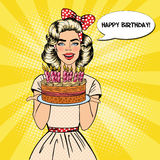 Pop Art Beautiful Woman Holding a Plate with Happy Birthday Cake with Candles. Vector illustration vector illustration