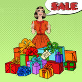Pop Art Beautiful Woman with Huge Gift Boxes, Thumbs Up and Comic Speech Bubble Sale. Vector illustration Stock Images