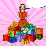 Pop Art Beautiful Woman with Huge Gift Boxes and Thumbs Up. Vector illustration Royalty Free Stock Image