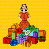 Pop Art Beautiful Woman with Huge Gift Boxes and Thumbs Up. Vector illustration Stock Images