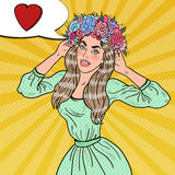 Pop Art Beautiful Woman in Love with Flower Wreath Stock Photos