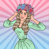 Pop Art Beautiful Woman in Love with Flower Wreath Stock Photo