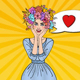 Pop Art Beautiful Woman in Love with Flowers Hairstyle Royalty Free Stock Photos