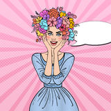 Pop Art Beautiful Woman in Love with Flowers Hairstyle Stock Photo