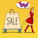 Pop Art Beautiful Woman med den jätte- shoppingpåsen på Sale royaltyfri illustrationer