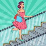 Pop Art Beautiful Woman med shoppingpåsar på rulltrappan Sale Consumerism stock illustrationer