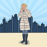 Pop Art Beautiful Woman Posing in Warm Fur Coat in the City. Girl in Winter Clothes. Vector illustration Royalty Free Stock Photo