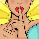 Pop art beautiful woman put her finger to her lips, calling for silence vector illustration