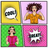 Pop Art Beautiful Woman Showing Thump Up. Joyful Teenager Girl. Vintage Poster with Comic Speech Bubble. Pin Up Royalty Free Illustration