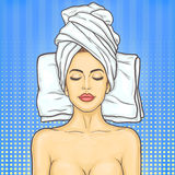 Pop art beautiful woman in spa environment Royalty Free Stock Photography