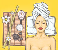 Pop art beautiful woman in the spa salon Stock Photos