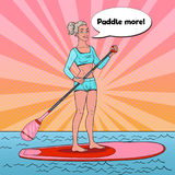 Pop Art Beautiful Woman on the Stand Up Paddle Board.. Pop Art Beautiful Woman on the Stand Up Paddle Board. Female Surfer in Swimsuit on SUP. Vector Stock Image