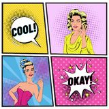 Pop Art Beautiful Woman Winking and Showing Sign OK. Joyful Girl Showing Thumb Up. Vintage Poster Comic Speech Bubble. Pop Art Beautiful Woman Winking and royalty free illustration