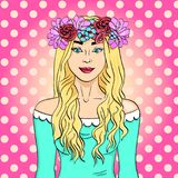 Pop art beautiful and young girl, blonde. Wreath on head with bouquet of flowers. Comic book style imitation. Vector royalty free illustration