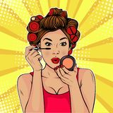 Pop art beauty of the face. Make-up, woman brush causes the tone to the face. The beauty of the face. Make-up, woman brush causes the tone to the face. Vector royalty free illustration